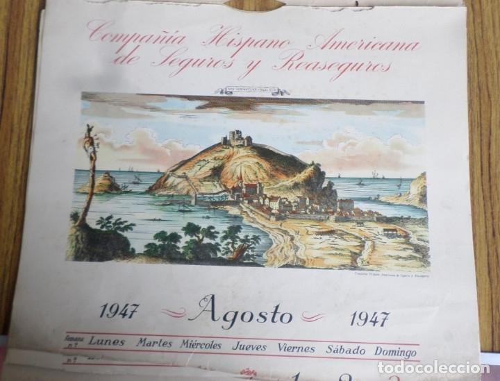 12 LÁMINAS IMPRESAS COLOREADAS - PAISAJES DE ESPAÑA SIGLO XVII – XVIII - SACADAS CALENDARIO 1947 (Arte - Láminas Antiguas)