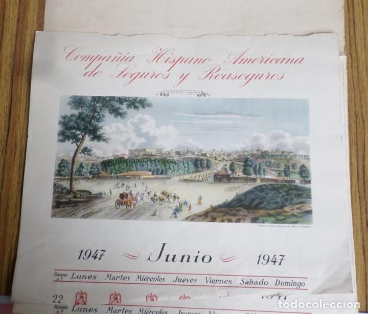 Arte: 12 láminas impresas coloreadas - Paisajes de España siglo XVII – XVIII - Sacadas calendario 1947 - Foto 2 - 176222959