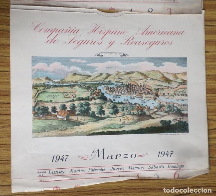Arte: 12 láminas impresas coloreadas - Paisajes de España siglo XVII – XVIII - Sacadas calendario 1947 - Foto 3 - 176222959