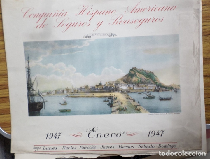 Arte: 12 láminas impresas coloreadas - Paisajes de España siglo XVII – XVIII - Sacadas calendario 1947 - Foto 4 - 176222959