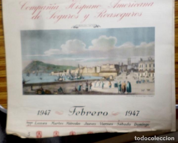 Arte: 12 láminas impresas coloreadas - Paisajes de España siglo XVII – XVIII - Sacadas calendario 1947 - Foto 6 - 176222959
