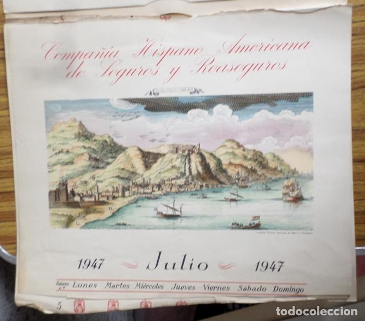 Arte: 12 láminas impresas coloreadas - Paisajes de España siglo XVII – XVIII - Sacadas calendario 1947 - Foto 8 - 176222959
