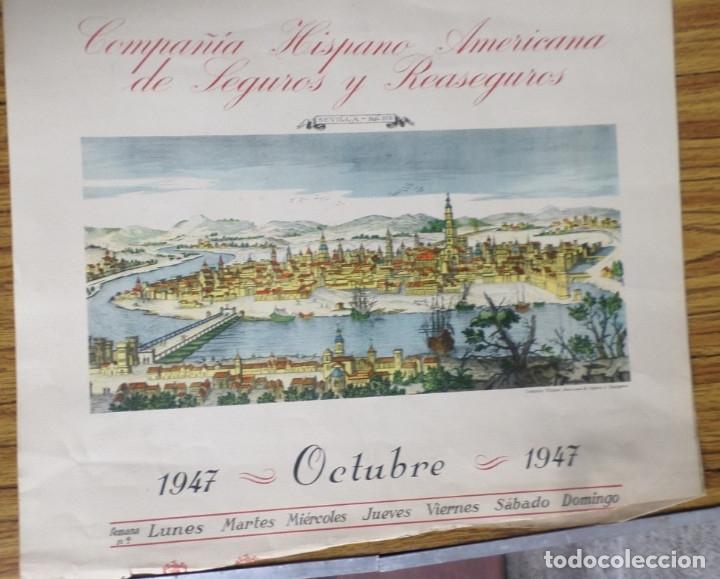 Arte: 12 láminas impresas coloreadas - Paisajes de España siglo XVII – XVIII - Sacadas calendario 1947 - Foto 9 - 176222959