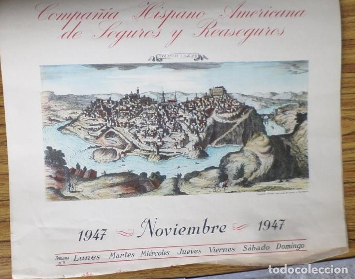 Arte: 12 láminas impresas coloreadas - Paisajes de España siglo XVII – XVIII - Sacadas calendario 1947 - Foto 11 - 176222959