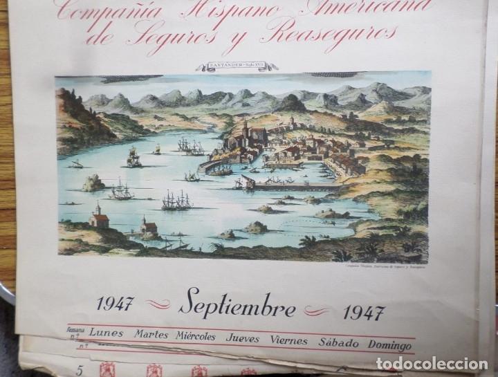 Arte: 12 láminas impresas coloreadas - Paisajes de España siglo XVII – XVIII - Sacadas calendario 1947 - Foto 12 - 176222959