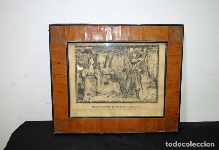 LÁMINA ANTIGUA RELIGIOSA CON MARCO DE MADERA (Arte - Láminas Antiguas)