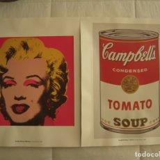 Arte: LAMINAS DE ANDY WARHOL DE MARYLIN MONROE Y SOPA DE TOMATE CAMPBELLS. Lote 177671327