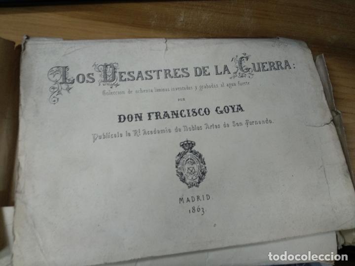 LOS CAPRICHOS Y LOS DESASTRES DE LA GUERRA DE GOYA, CARPETILLA CON 80 LAMINAS, 24 X 17 CM. (Arte - Láminas Antiguas)