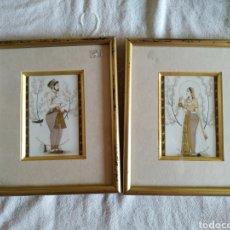 Arte: 2 PINTURAS INDIAS SOBRE TABLA DE MARFIL 15X8 CM. Lote 164225492