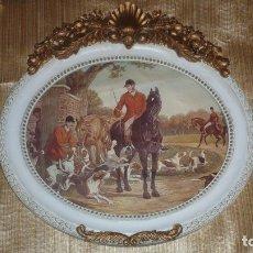 Arte: LÁMINA ENMARCADA ESCENA INGLESA CAZA SIGLO XVIII. Lote 178669816