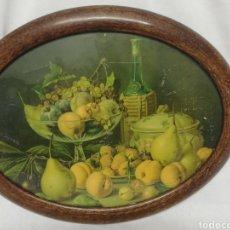 Arte: ANTIGUO MARCO OVALADO EN MADERA CON LAMINA DE BODEGON. AÑOS 50.. Lote 178853176