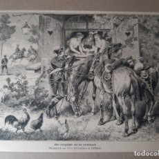 Arte: IMPRESIÓN ANTIGUA DE LA CABALLERIA. AÑO DESCONOCIDO 27X20 CENTÍMETROS. Lote 179223740