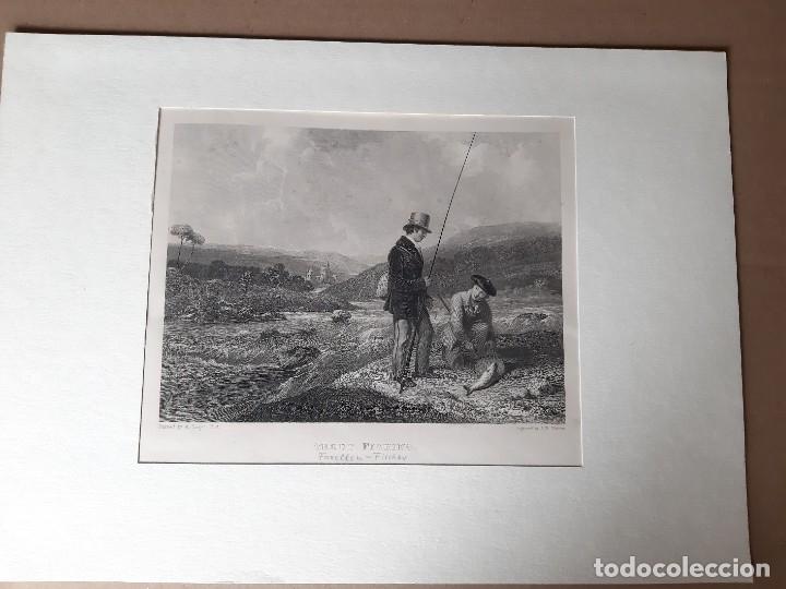 IMPRESIÓN ANTIGUA DE PESCA. AÑO 1860 26X18 CENTÍMETROS (Arte - Láminas Antiguas)