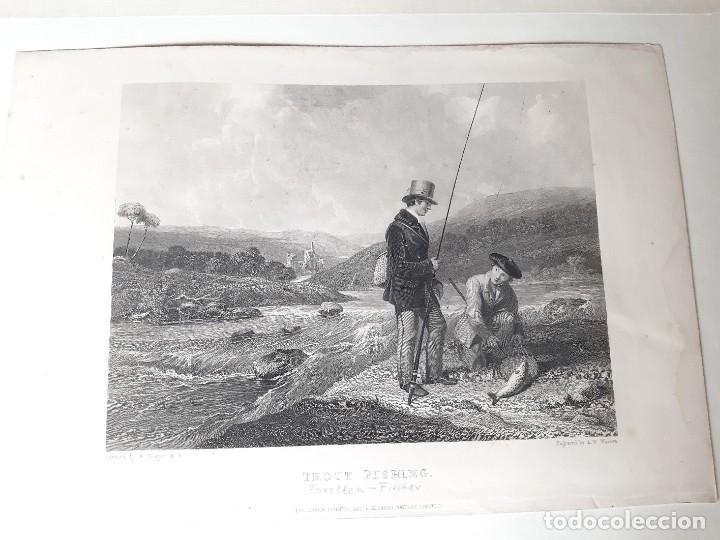 Arte: IMPRESIÓN ANTIGUA DE PESCA. AÑO 1860 26x18 CENTÍMETROS - Foto 2 - 179242103