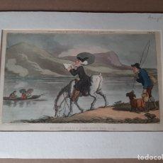 Arte: IMPRESIÓN ANTIGUA DE PESCA. AÑO 1820 23X14 CENTÍMETROS. Lote 179242458