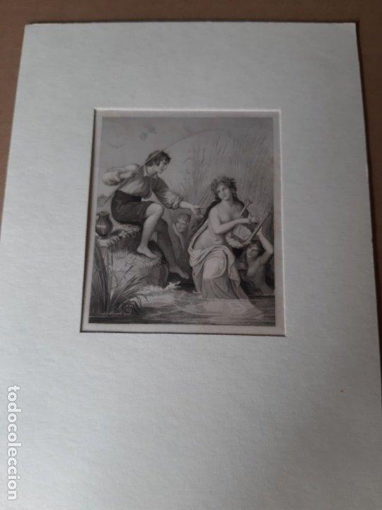 IMPRESIÓN ANTIGUA DE PESCA. SIGLO XIX. 14X20CENTÍMETROS (Arte - Láminas Antiguas)