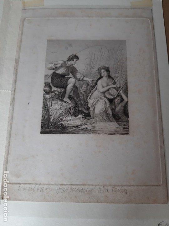 Arte: IMPRESIÓN ANTIGUA DE PESCA. SIGLO XIX. 14x20CENTÍMETROS - Foto 2 - 179242546