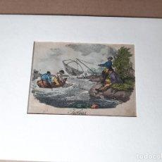 Arte: IMPRESIÓN ANTIGUA DE PESCA. AÑO 1825. 25X18CENTÍMETROS. Lote 179242806