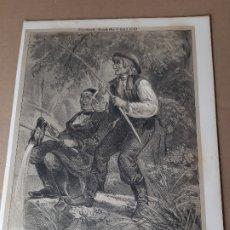 Arte: IMPRESIÓN ANTIGUA DE PESCA. AÑO 1853. 27X20 CENTÍMETROS. Lote 179243060