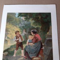 Arte: IMPRESIÓN ANTIGUA DE PESCA. AÑO 1853. 20X26 CENTÍMETROS. Lote 179243187