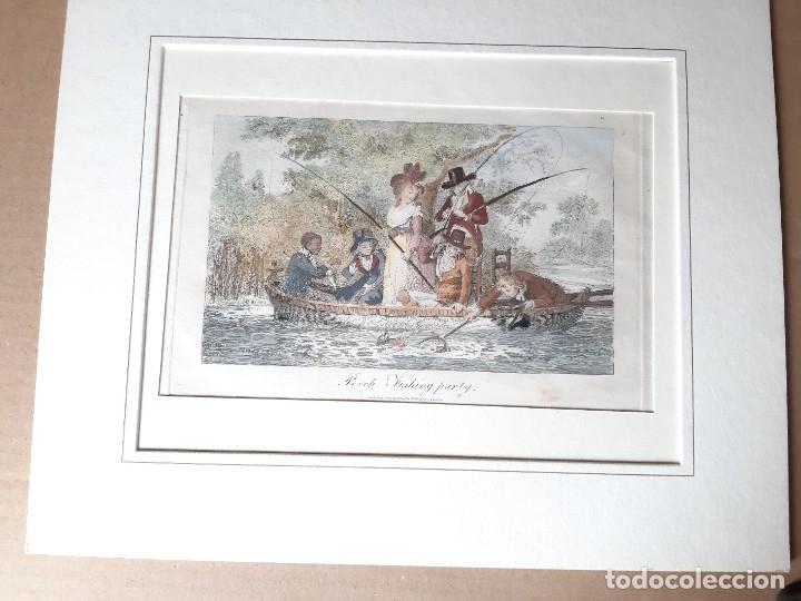 IMPRESIÓN ANTIGUA DE PESCA. AÑO 1805. 25X18 CENTÍMETROS (Arte - Láminas Antiguas)