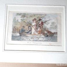 Arte: IMPRESIÓN ANTIGUA DE PESCA. AÑO 1805. 25X18 CENTÍMETROS. Lote 179243431