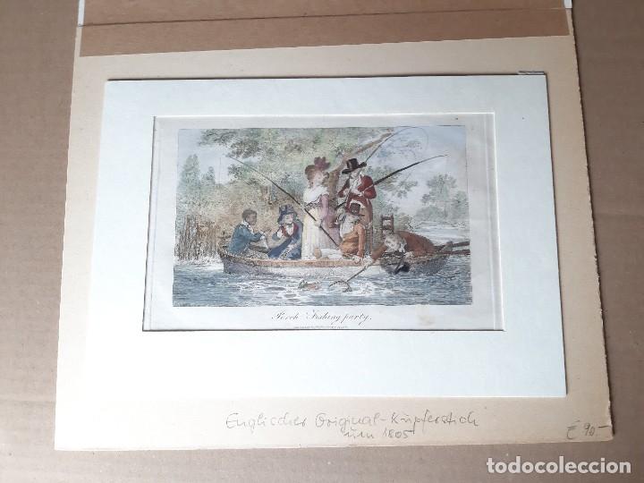 Arte: IMPRESIÓN ANTIGUA DE PESCA. AÑO 1805. 25x18 CENTÍMETROS - Foto 2 - 179243431