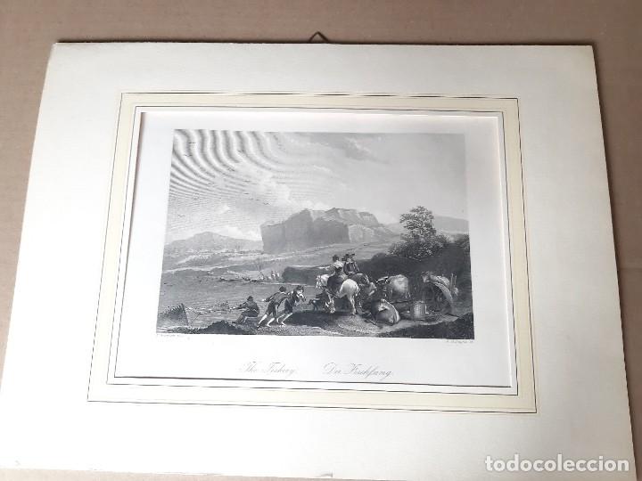 IMPRESIÓN ANTIGUA DE PESCA. AÑO 1850. 28X22 CENTÍMETROS (Arte - Láminas Antiguas)