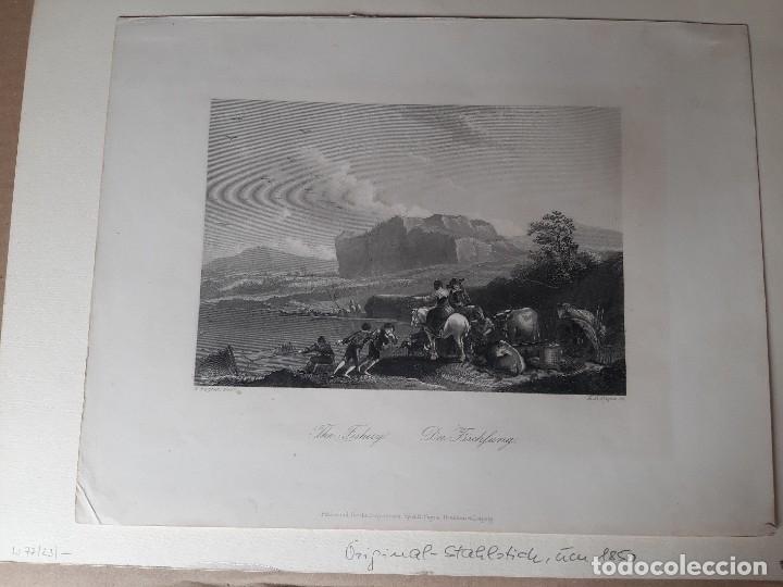 Arte: IMPRESIÓN ANTIGUA DE PESCA. AÑO 1850. 28x22 CENTÍMETROS - Foto 2 - 179243508