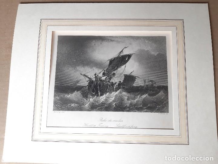 IMPRESIÓN ANTIGUA MARITIMA. AÑO 1850. 27X20 CENTÍMETROS (Arte - Láminas Antiguas)
