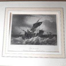Arte: IMPRESIÓN ANTIGUA MARITIMA. AÑO 1850. 27X20 CENTÍMETROS. Lote 179243673