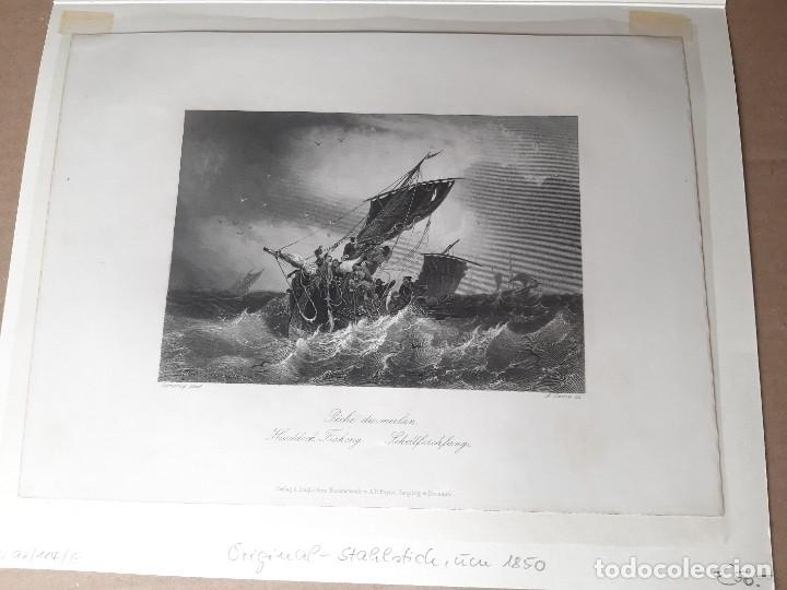 Arte: IMPRESIÓN ANTIGUA MARITIMA. AÑO 1850. 27x20 CENTÍMETROS - Foto 2 - 179243673