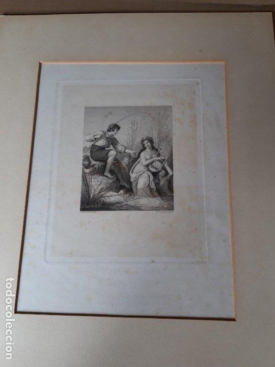 IMPRESIÓN ANTIGUA DE PESCA SIGLO XIX. 13X17 CENTÍMETROS (Arte - Láminas Antiguas)