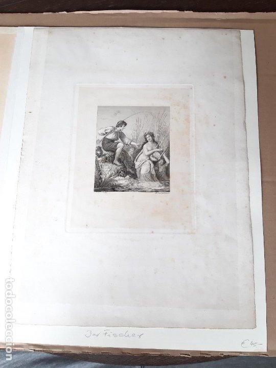 Arte: IMPRESIÓN ANTIGUA DE PESCA SIGLO XIX. 13X17 CENTÍMETROS - Foto 2 - 179243775