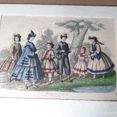 Arte: IMPRESIÓN ANTIGUA DE PESCA AÑO 1864. 30X21 CENTÍMETROS. Lote 179243903
