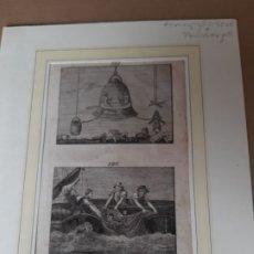 Arte: IMPRESIÓN ANTIGUA DE PESCA AÑO 1840. 12X20 CENTÍMETROS. Lote 179244071