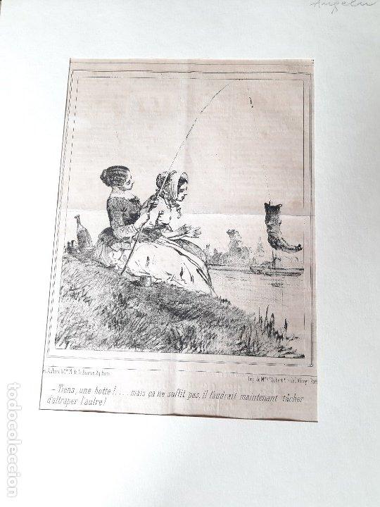 IMPRESIÓN ANTIGUA DE PESCA AÑO 1851. 25X34 CENTÍMETROS (Arte - Láminas Antiguas)