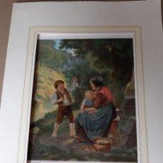 Arte: IMPRESIÓN ANTIGUA DE PESCA AÑO 1860. 21X26 CENTÍMETROS. Lote 179246295