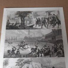 Arte: IMPRESIÓN ANTIGUA VIDA COTIDIANA. TOROS. SIGLO XIX. 24X30 CENTÍMETROS. Lote 179247053