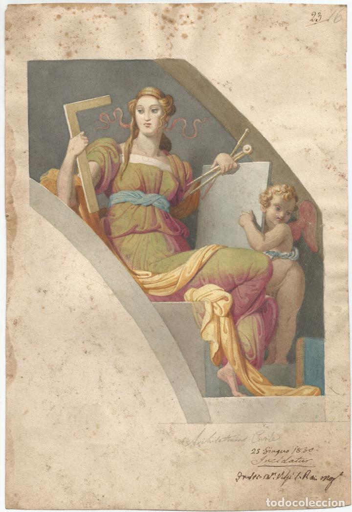 ANTIGUA LÁMINA - ALEGORIA ARQUITECTURA CIVIL - 1830 (Arte - Láminas Antiguas)