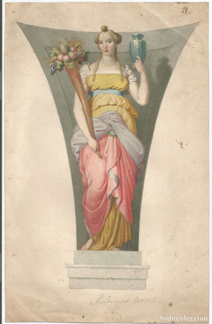 ANTIGUA LÁMINA - ALEGORIA TERRESTRE - 1829 (Arte - Láminas Antiguas)