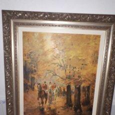 Arte: LAMINA ANTIGUA SOBRE TELA EN MARCO DE MADERA TALLADA. Lote 182518218