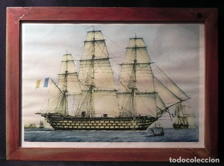 Arte: Cuadro Lamina Enmarcada Barco Antiguo LE BRETON Marco madera y cristal, ilustración vintage 1970s - Foto 2 - 183698610