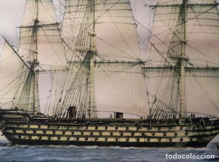Arte: Cuadro Lamina Enmarcada Barco Antiguo LE BRETON Marco madera y cristal, ilustración vintage 1970s - Foto 3 - 183698610