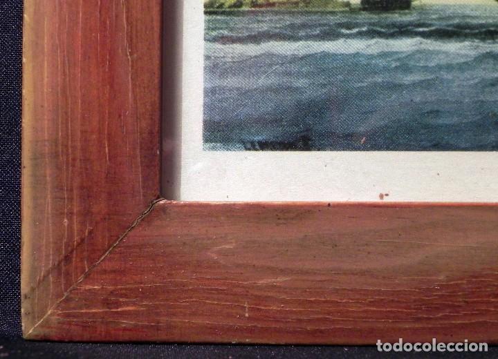 Arte: Cuadro Lamina Enmarcada Barco Antiguo LE BRETON Marco madera y cristal, ilustración vintage 1970s - Foto 5 - 183698610