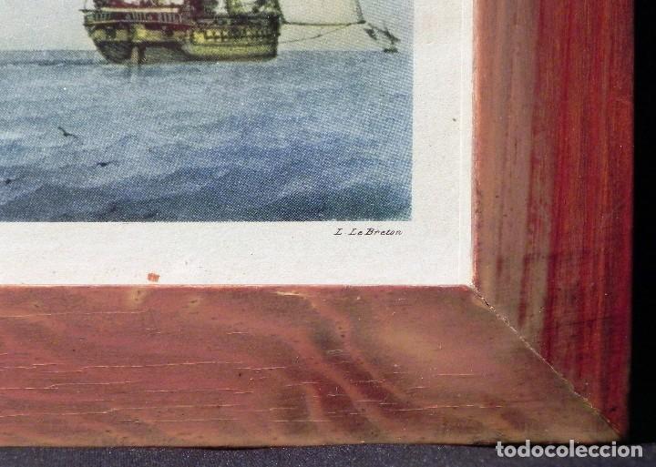 Arte: Cuadro Lamina Enmarcada Barco Antiguo LE BRETON Marco madera y cristal, ilustración vintage 1970s - Foto 6 - 183698610
