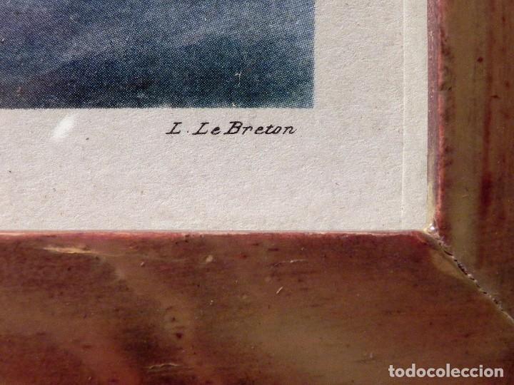 Arte: Cuadro Lamina Enmarcada Barco Antiguo LE BRETON Marco madera y cristal, ilustración vintage 1970s - Foto 7 - 183698610