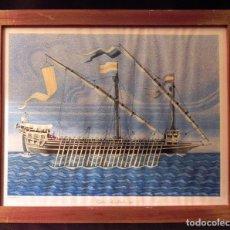 Arte: CUADRO LAMINA ENMARCADA BARCO ANTIGUO GALERA SANT JORDI MARCO MADERA Y CRISTAL, ILUSTRACIÓN VINTAGE. Lote 183701531