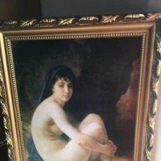 Arte: DESNUDO MUJER EN LAMINA PEGADA EN MADERA, ENMARCADO.. Lote 185905712