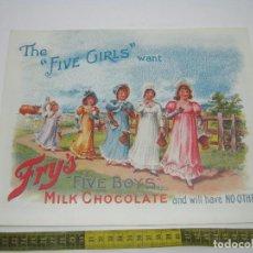 Arte: REPRO - BELLO CARTEL CHOCOLATE FRY'S. Lote 189591596